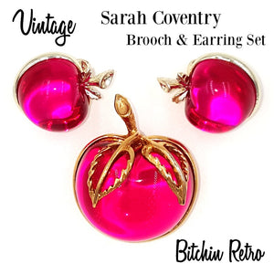 Sarah Coventry 1972 Burgundy Brooch and Earring Set at bitchinretro.com