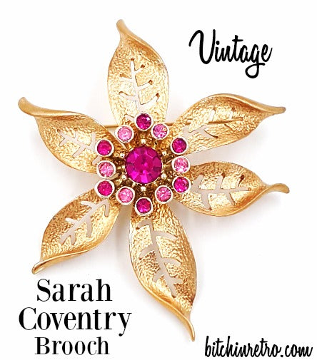 Sarah Coventry Vintage Flower Brooch at bitchinretro.com