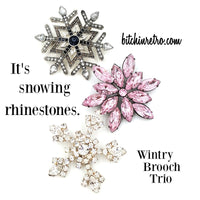 Snowflake Rhinestone Brooch Collection With Vintage OTC Pin