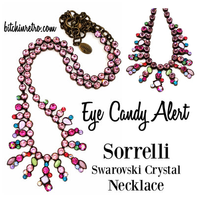 Sorrelli Bib Necklace Swarovski Crystals Semi Precious Stones Gorgeous Colors