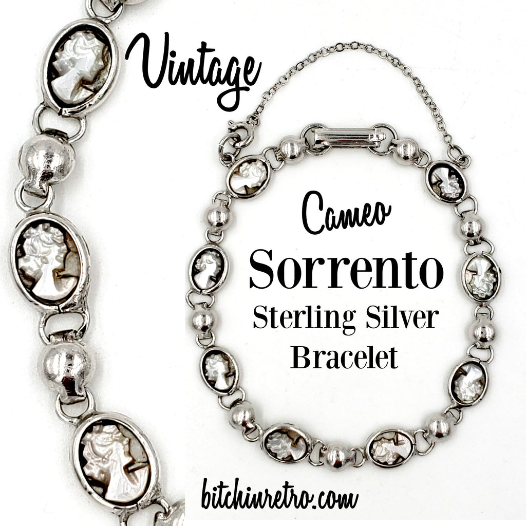 Sorrento Sterling Silver Mother of Pearl Vintage Cameo Bracelet at bitchinretro.com