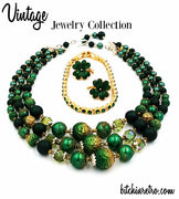 Lucky Shamrock Vintage Jewelry Lot Japan Necklace Avon Earrings and Bracelet