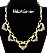 Stella Dot Necklace Grey Rhinestone Accents Brushed Gold Tone Chunky Links