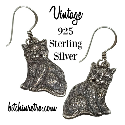925 Sterling Silver Cat Earrings at bitchinretro.com