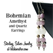 Bohemian Amethyst and Quartz Earrings at bitchinretro.com