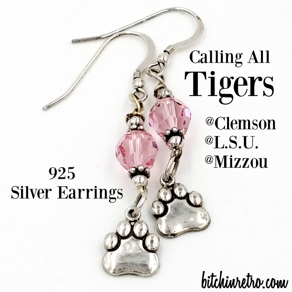 Calling all tigers - Clemson, LSU, Mizzou. 925 Silver Paw Print Earrings at bitchinretro.com