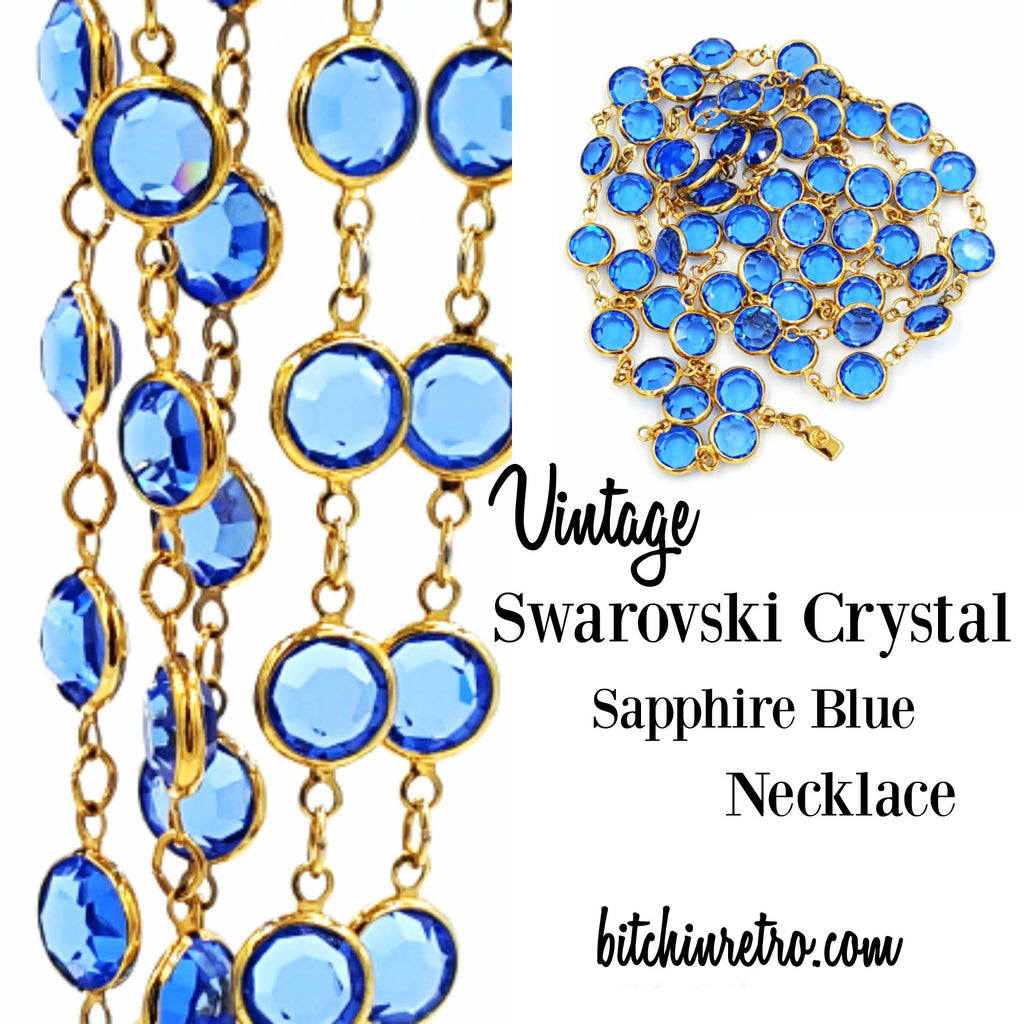 Swarovski Crystal Sapphire Blue Vintage Necklace at bitchinretro.com