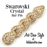 Swarovski Crystal Bar Pin With Art Deco Style at bitchinretro.com