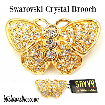 Swarovski Crystal Savvy Butterfly Brooch at bitchinretro.com