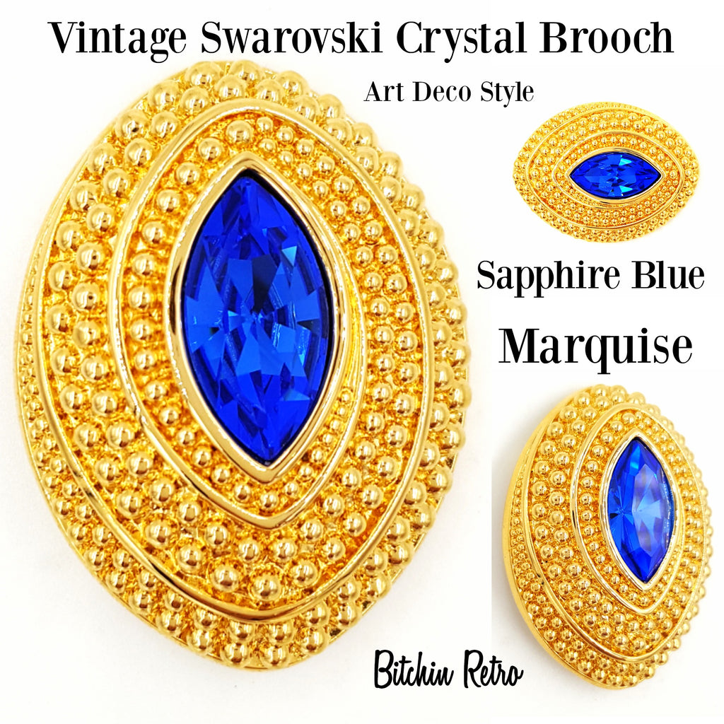 Swarovski Crystal Vintage Sapphire Blue Marquise Brooch at bitchinretro.com