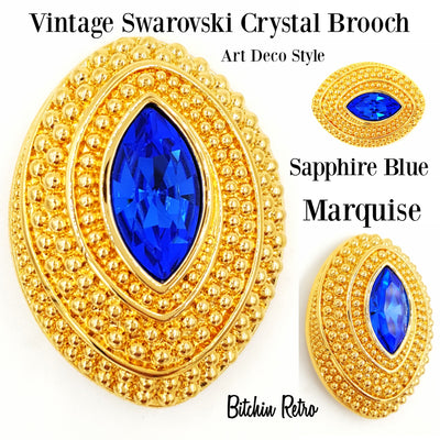 Swarovski Vintage Brooch Sapphire Blue Marquise Crystal in Domed Oval Setting