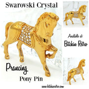 Swarovski Crystal Horse or Pony Brooch at bitchinretro.com