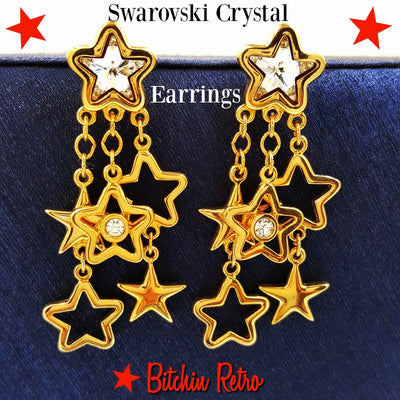 Swarovski Crystal Star Dangle Earrings at bitchinretro.com