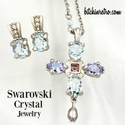 Swarovski Crystal Pendant Cross Necklace With Matching Earrings