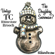 TC Vintage Rhinestone Snowman Brooch - Retro Holiday Pin