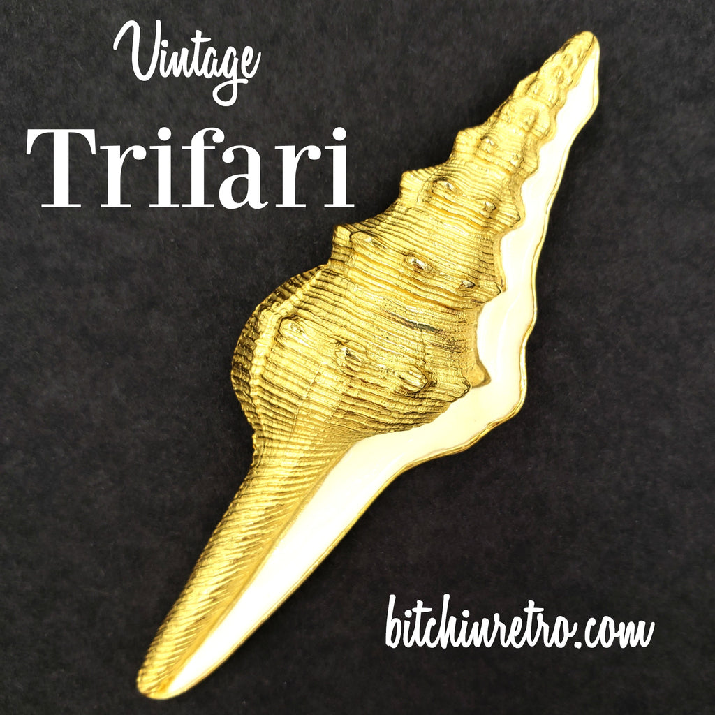 Trifari TM Vintage Shell Brooch at bitchinretro.com