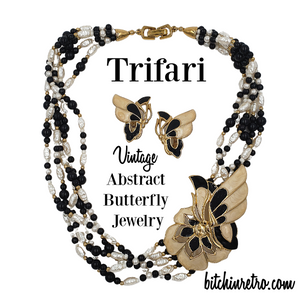 Trifari TM Butterfly Necklace and Earring Set at bitchinretro.com
