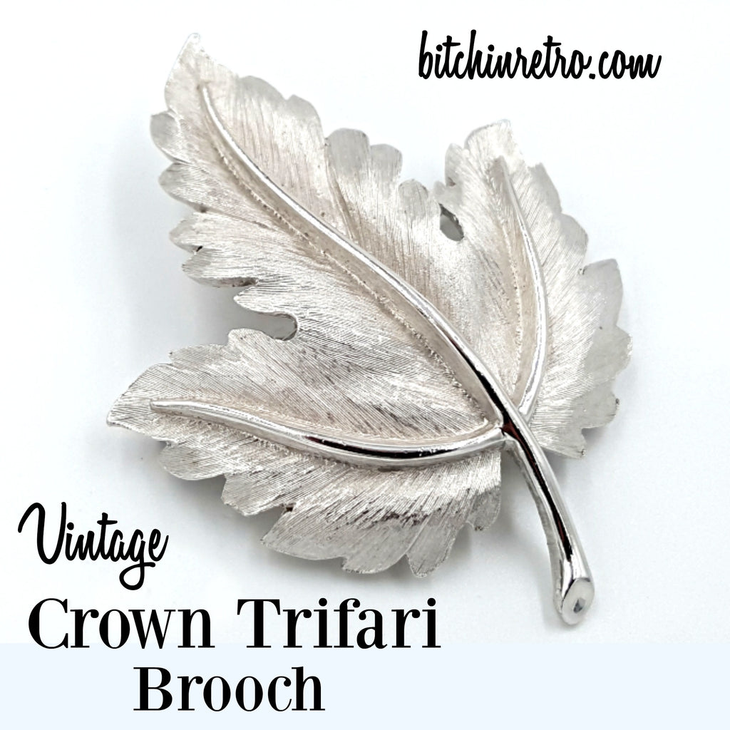Crown Trifari Vintage Leaf Brooch at bitchinretro.com