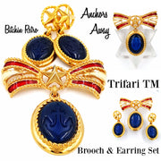 Trifari TM Anchors Away Brooch and Earring Set at bitchinretro.com