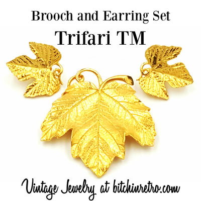 Trifari TM Vintage Leaf Brooch With Matching Comfort Clip Earrings