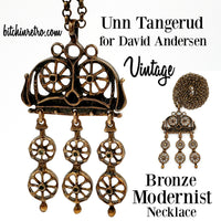 Unn Tangerud for David Anderson Vintage Bronze Modernist Necklace at bitchinretro.com