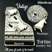 Torino Piano Brooch, Earring And Necklace Set at bitchinretro.com