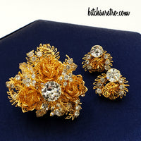 Vendome Vintage Rhinestone Brooch and Earrings Set at bitchinretro.com