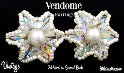 Vendome Earrings Vintage Rhinestone Faux Pearl Starburst Published Book Piece