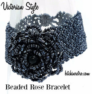 Beaded Rose Bracelet With Victorian Style at bitchinretro.com