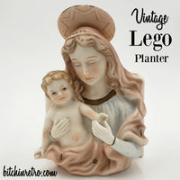 Lego Vintage Planter of Madonna and Christ Child at bitchinretro.com