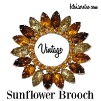 Sunflower Vintage Rhinestone Brooch at bitchinretro.com