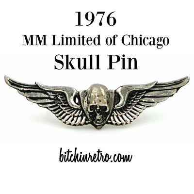 1976 MM Limited of Chicago Skull Pin at bitchinretro.com