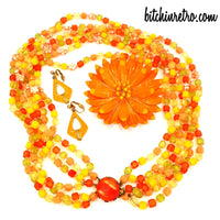 West Germany Necklace Arthur Pepper Earrings and Vintage Floral Brooch at bitchinretro.com