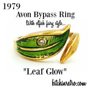 Avon 1979 Leaf Glow Bypass Ring at bitchinretro.com