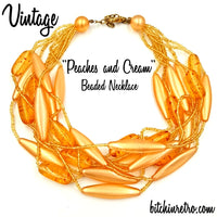Vintage Peaches and Cream Beaded Necklace at bitchinretro.com