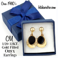 CM 1/20 12 KT Gold Filled Onyx Vintage Earrings at bitchinretro.com