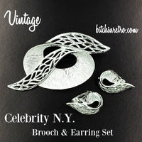 Celebrity NY Vintage Brooch and Earring Set at bitchinretro.com