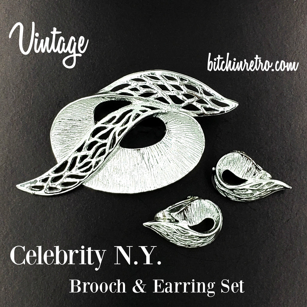 Celebrity NY Brooch and Earrings Set Vintage Abstract Mid Century Modern Pin
