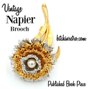 Napier Vintage Flower Brooch and Published Book Piece at bitchinretro.com