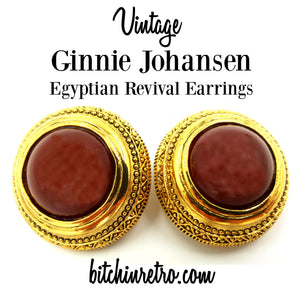 Vintage Ginnie Johansen Egyptian Revival Earrings at bitchinretro.com
