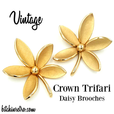 Crown Trifari Vintage Daisy Brooches at bitchinretro.com