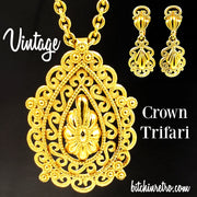 Vintage Crown Trifari Necklace and Earring Set at bitchinretro.com