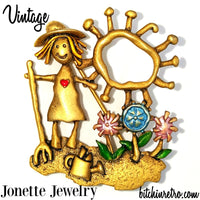 Vintage Jonette Jewelry Flower Garden Brooch at bitchinretro.com