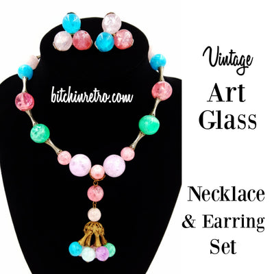 Vintage Art Glass Beaded Necklace and Earring Set at bitchinretro.com