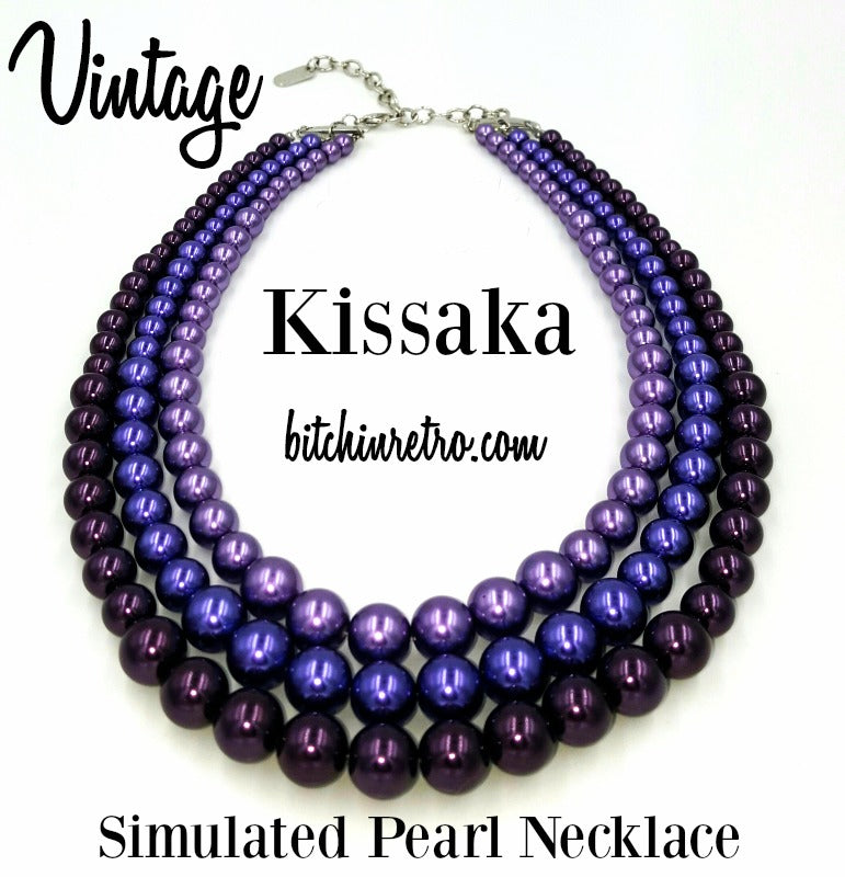 Vintage Kissaka Simulated Pearl Necklace at bitchinretro.com