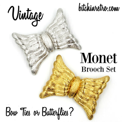 Monet Vintage Brooch Set Bow Ties or Butterflies at bitchinretro.com
