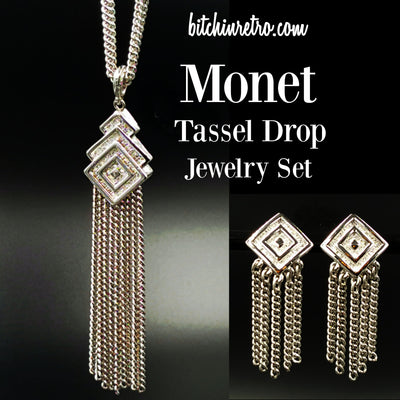 Monet Vintage Tassel Drop Jewelry Set @ bitchinretro.com
