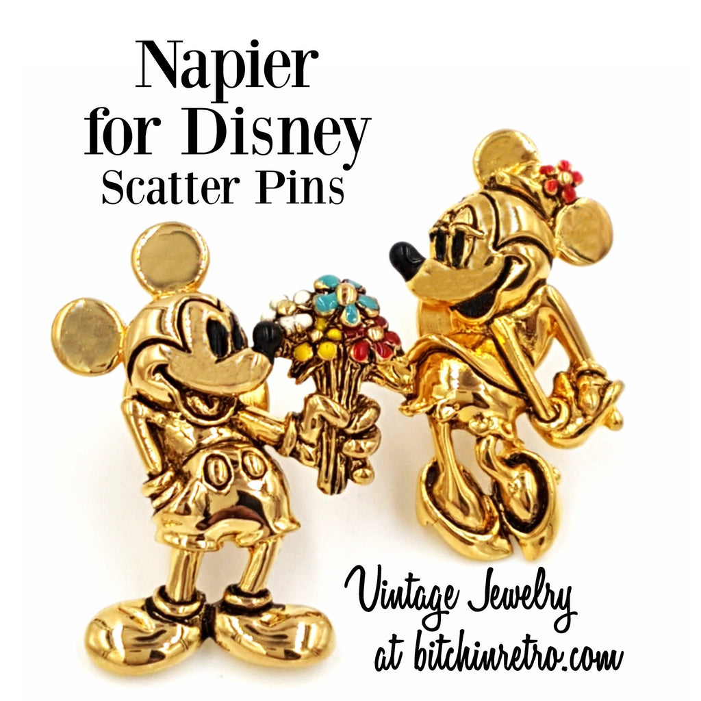 Napier for Disney Vintage Mickie and Minnie Mouse Scatter Pins at bitchinretro.com