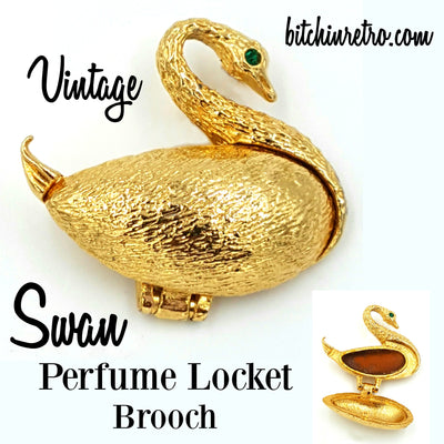 Swan Vintage Perfume Locket Brooch at bitchinretro.com