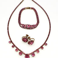 Pink Rhinestone Vintage Jewelry Parure With Necklace Bracelet and Earrings at bitchinretro.com